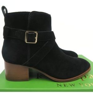 NIB Kate Spade Polly Ankle Boots Black Suede 8.5